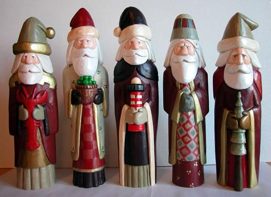 wood carved santas